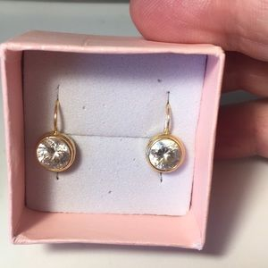 Jewelry - 14k gold vintage bezel set cz leverback earrings